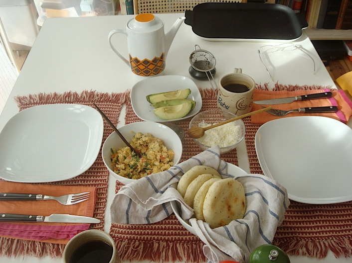arepas, avocado and white cheese