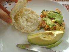 arepa, perico and avocado