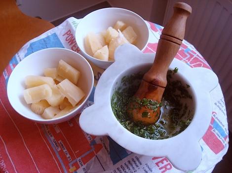 boiled yucca and chimichurri