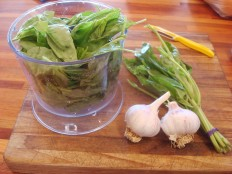 Basil and garlic in the blender cup