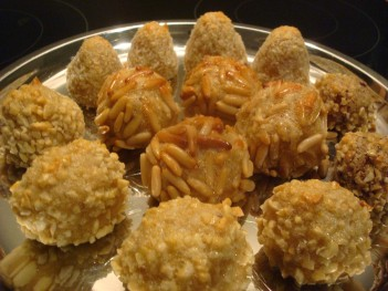 almond, pine nut, coconut and hazelnut panellets