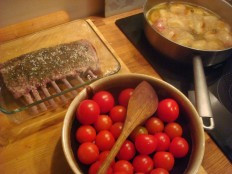 lamb cherry tomatoes and chollots cooking