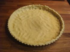 dough spread in baking pan