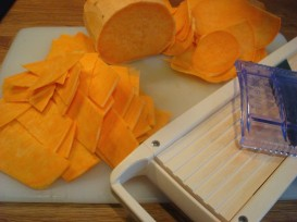 slicing the sweet potato