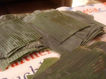 cleaned and cut banana leaves