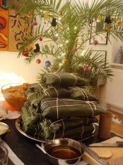 wrapped hallacas ready for final cooking, one hour in boiling water