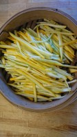 julienned courgette in bamboo steamer