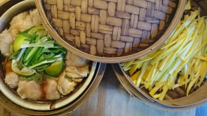 steamed chicken and courgette