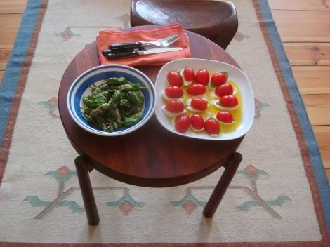 Pimiento de Padrón and Caprese salad