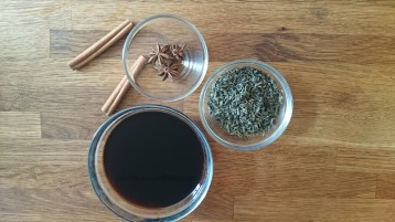 cinnamon, star anise, green tea and soy sauce