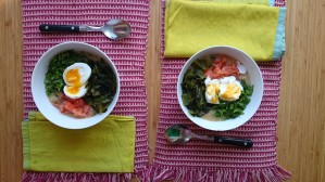 Breakfast Congee with kelp, lax, parsley and soft boiled eggs