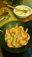 Prawn steaming in broth and Shao Xing