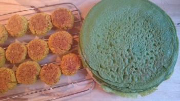 falafel and pancakes cooling off