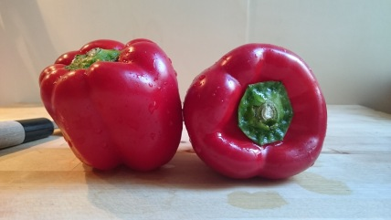 two sweet red peppers