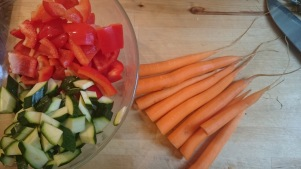 red pepper, courgette and carrots