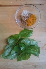 basil, turmeric, cumin, cardamom and sea salt