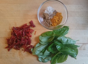 sun dried tomatoes, curry and basil